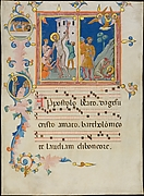 Manuscript Leaf with the Martyrdom of Saint Bartholomew, from a Laudario