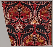 Silk Fragment with Lions and Pomegranates