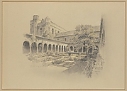 Preliminary Design for The Cloisters - View of the interior of Cuxa Cloister