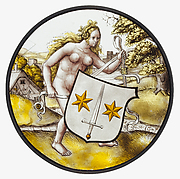 Roundel with Nude Woman Supporting a Heraldic Shield