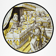 Roundel with Joseph Presenting his father, Jacob, to the Pharoah (from a Series of the History of Joshua)