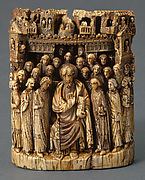 Tusk Fragment with Apostle (Saint Mark?) on Throne, Surrounded by Followers in Front of a City