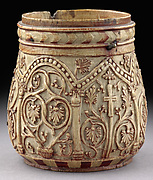 Pyxis with Crosses and Vine Scrolls