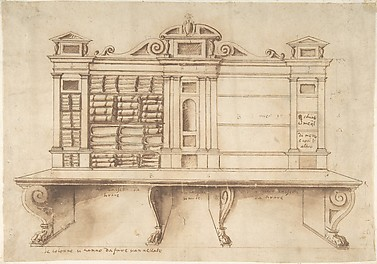 Design for a Bookcase with Writing Desk