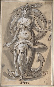 Standing Female Figure with an Anchor (