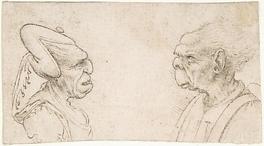 Two Grotesque Heads: Old Woman with an Elaborate Headdress and a Man with Large Ears