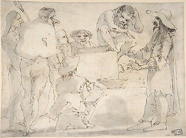 Group of Caricatured Figures with an Artist Drawing