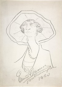 Caricature of a Woman in a Large Hat