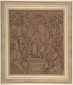 Virgin and Child Enthroned with Saint Anthony Abbot, Saint Peter, Saint Paul, Saint Julian the Hospitaler, Saint Roch, and Saint Mary Magdalen?