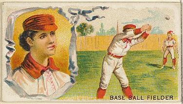 Baseball Fielder, from the Games and Sports series (N165) for Old Judge Cigarettes