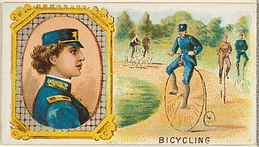 Bicycling, from the Games and Sports series (N165) for Old Judge Cigarettes