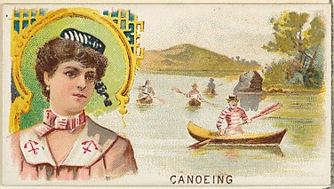 Canoeing, from the Games and Sports series (N165) for Old Judge Cigarettes
