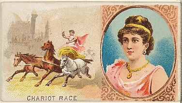 Chariot Race, from the Games and Sports series (N165) for Old Judge Cigarettes
