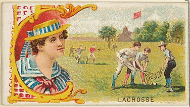Lacrosse, from the Games and Sports series (N165) for Old Judge Cigarettes