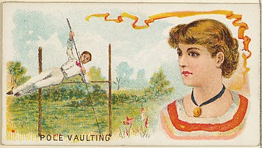 Pole Vaulting, from the Games and Sports series (N165) for Old Judge Cigarettes