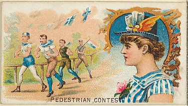 Pedestrian Contest, from the Games and Sports series (N165) for Old Judge Cigarettes