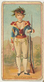 Gendarme, from the Occupations of Women series (N502) for Frishmuth's Tobacco Company