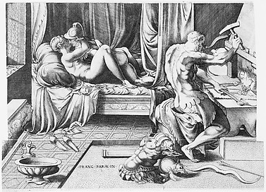 Venus and Mars Embracing as Vulcan Works at His Forge