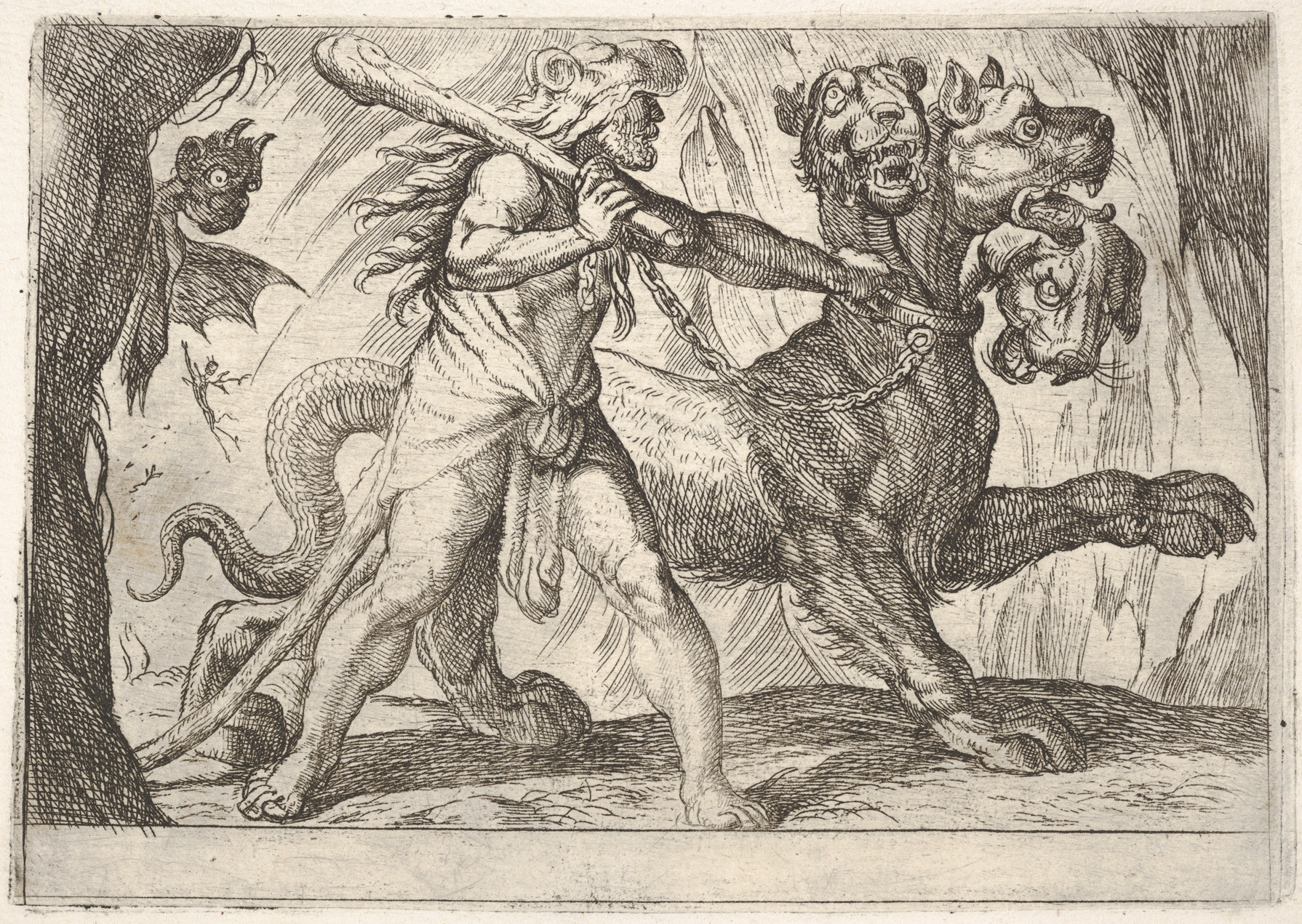 antonio tempesta hercules and the nemean lion hercules grasps hercules and cerberus hercules grasps the collar of cerberus two demons appear at left from the series the labors of hercules