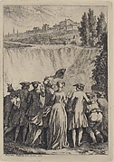 Group of People Looking at a Waterfall