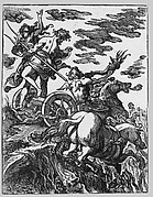 Rape of Persephone with Pluto on horseback at right