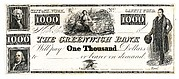 $1000 Bill for The Greenwich Bank, The City of New York