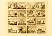 Sheet of Fabric Labels with Sixteen Views of Buildings in Boston, New York, Philadelphia, Baltimore, Providence and Washington