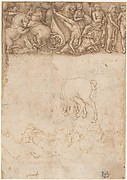 Studies after the Antique: The Fall of Phaëthon, Horses, Reclining Women with Children (recto); Studies after the Antique: An Altar or Urn, Lion Attacking a Horse (verso)