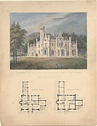 Villa for Robert Donaldson, Fishkill Landing, New York (perspective and plans)