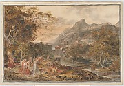 View of Vietri with Young Country Women Dancing for Shepherds in the Foreground