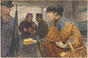 Woman in oriental dress selling lemons
