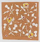 Textile Design with Flowers in White, Yellow and Red