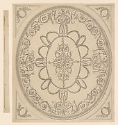 Design for a Ceiling, an Oval within a Square, having a Criss-cross Border to the Oval, for Ampthill Park, Bedfordshire
