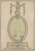 Two Designs for an Overmantel Glass (Verso: Partial Floor plan)