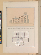 North Front and Second Floor Plan of John Munn House, Utica, New York