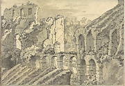 Roman Ruins: Part of the Colosseum (?) (Smaller Italian Sketchbook, leaf 11 recto)
