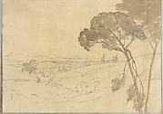 Landscape with Distant Buildings (Smaller Italian Sketchbook, leaf 27 recto)