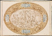 Design (Full-Scale Working Drawing) for a Large Oval Silver Dish with Silver Gilt Border Showing Vulcan's Forge