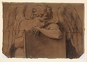 Cartoon Fragment for Adolescent Angel Leaning on a Tablet or Closed Book