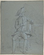 Seated Gentleman Holding a Pipe (recto); Half-Length Study of the Same Man (verso)