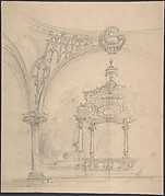 Stage Set Design: View of a Baldacchino seen through Rounded Arch with Pendentive and Column.