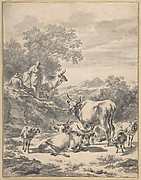 Herdsmen with Cattle and Sheep in Italianate Landscape