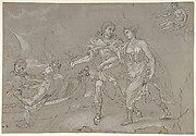 The Rape of Helena; verso: Study of a Kneeling Nude Male Figure