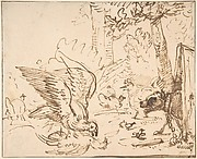 Barnyard Scene: two birds fighting (recto) Studies of Birds(verso)