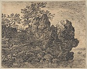 Landscape with a River and a Rocky Cliff