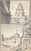 Reconstruction of the Mausoleum of Hadrian (above) and a View of the Castel S. Angelo (below)