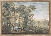 Arcadian Landscape with several Figures and a Statue of Diana