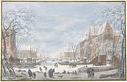 Snow Falling on a Dutch Town