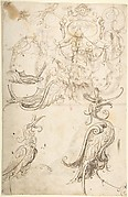 Various Grotesque Figure Studies and a Strapwork Cartouche (recto); Grotesque with Two Figures and Mask; and A Kneeling Cleric (verso)