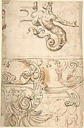 Various Designs of Strapwork and Grotesque Figures (recto); Grotesques with Term Figures (verso)